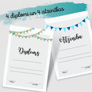 Diplomi un atzinības (ar karodziņiem)